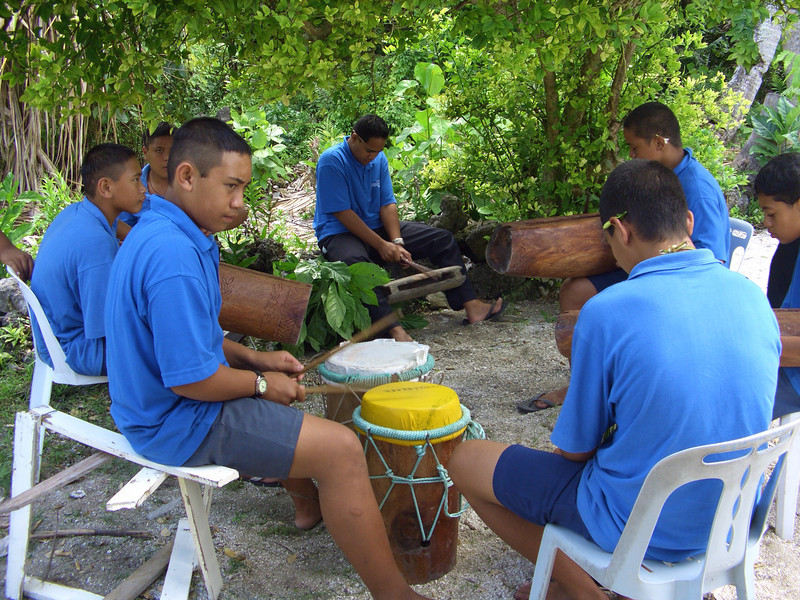 Local school children practising their drumming at Mitiaro Island School - eastern outer island, Cook Islands. Credit: New Zealand Ministry of Foreign Affairs and Trade.