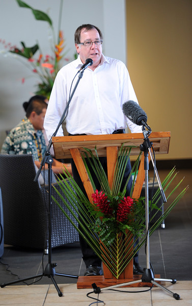 Minister of Foreign Affairs Murray McCully speaks at the opening of the refurbishment and extension of the Matavai Resort, Pacific Mission 2012, Alofi, Niue, Wednesday, July 25, 2012. Credit:SNPA / Ross Setford