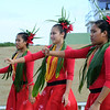 Niuean cultural dancers welcome the Delegation, Alofi International Airport, Pacific Mission 2012, Alofi, Niue, Wednesday, July 25, 2012. Credit:SNPA / Ross Setford