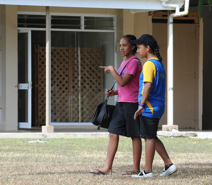 Young girls at the shopping centre, Alofi, Pacific Mission 2012, Alofi, Niue, Wednesday, July 25, 2012. Credit:SNPA / Ross Setford