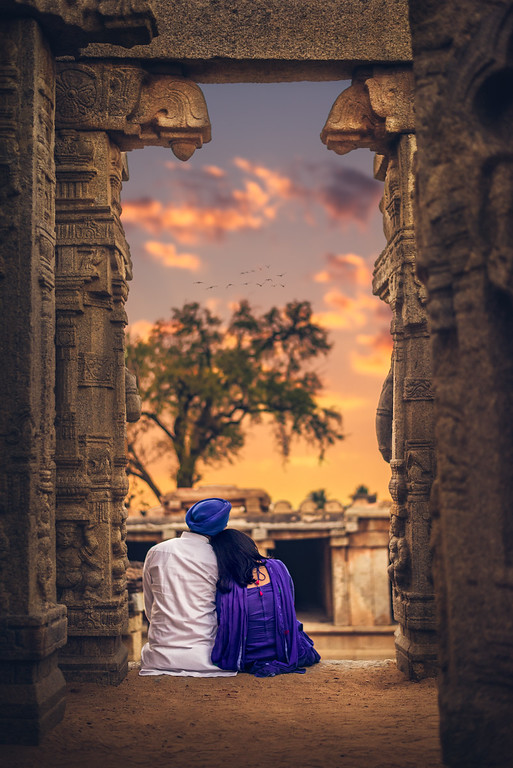 Indian couple in an old temple