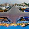Bardolino harbor at day and night