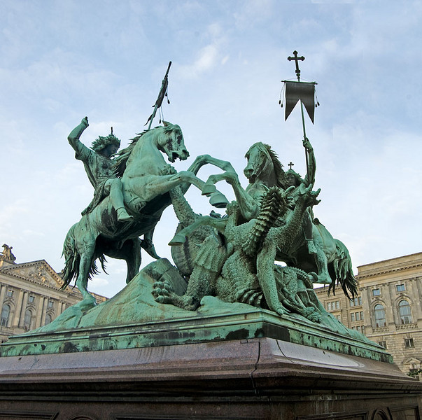 """St. Georg fighting the Dragon"" in St. Nicholas Quarter, Berlin - two picture composite"