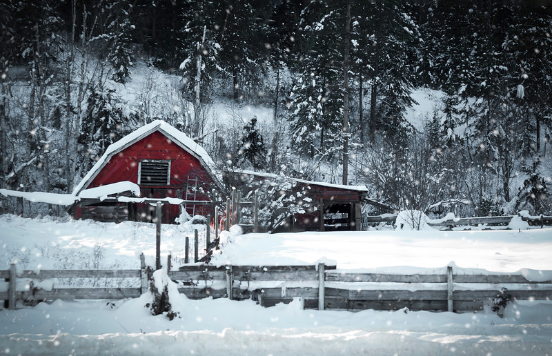 Snow on Red Barn