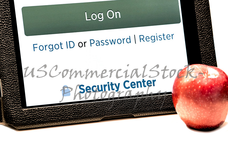 Tablet Screen open to Secure Log In to Web Page with Apple