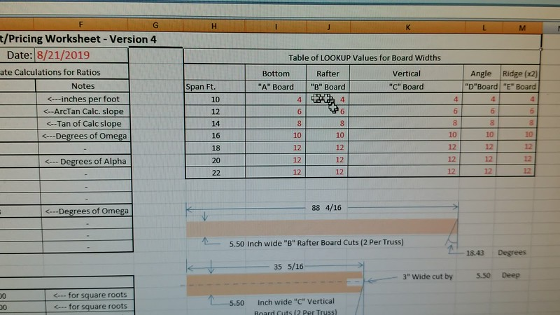 Video of Excel spreadsheet for calculation of Truss lumber length, weights, and material cost.
