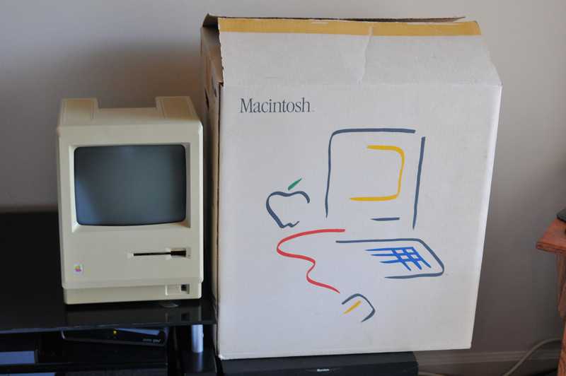 Apple Macintosh 128k shipping box from 1984. I found this box about 20 years ago. The brown lines are from the original tape that is still in place, but not coming loose.