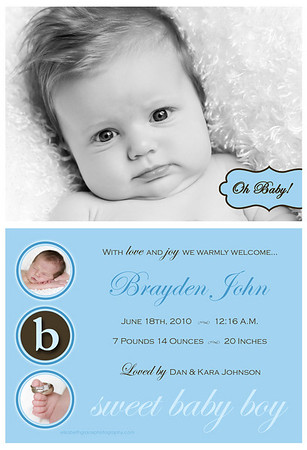 Welcome your newest addition in style with a custom birth announcement from elizabeth grace photography!  If you're looking for the ultimate in birth announcement design, a tri-fold card is the way to go!  Not only does a tri-fold design provide you with additional space for showing off your favorite images from your session (tri-fold card designs include six panels, where flat cards include two panels), many parents leave the back panel blank for writing thank you notes for baby gifts, therefore eliminating the cost of separate thank you cards and also saving on postage.  <br /> <br /> Most card designs in this gallery are shown as flat (two-sided) cards, however the majority of card designs can be easily converted to a tri-fold card if desired.  Please note that the sample templates shown in this gallery are provided to give you ideas when designing your card.  However, one of the perks of working with a custom photographer is that any card you order will be fully customized for you and your individual design preferences.  Or, if you don't see something you love here, let's design a card together!  There are no costs for creating a new custom card design.  <br /> <br /> You will have two rounds of complimentary card reviews where edits can be made to your card design prior to printing (additional reviews are $15 per round).  All cards are printed on fine linen paper and come with white envelopes.  Custom return address labels can be created to perfectly coordinate with your chosen announcement featuring your baby's or your family's name + address - a wonderful finishing touch!  <br /> <br /> Please reference your price sheet for pricing and minimum orders on cards.