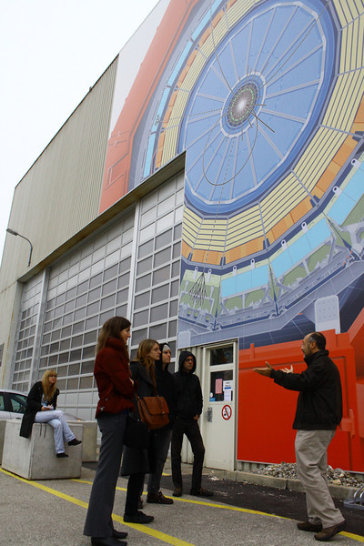 Outside the ALICE experiment, getting an explanation of what goes on there.