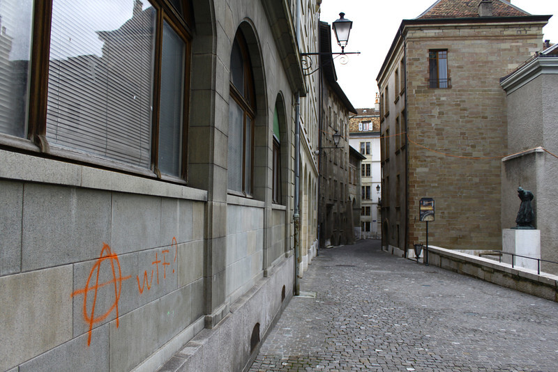 Graffiti near St. Pierre cathedral.