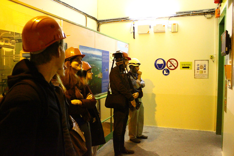 Waiting for the elevator at the ALICE experiment.
