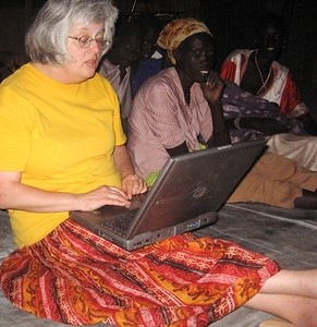 It's fun to blog outdoors at night, but it's important to keep the bugs out of the keyboard.