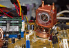 The fan faces my video card (not installed) because it provides more clearance between the heat-sink and the video card.<br /> I purchased this Extreme Spirit II Universal Northbridge Chipset Copper Heatpipe Cooler for about $25 from Microcenter.<br /> Mfr Part #: CL-C0034