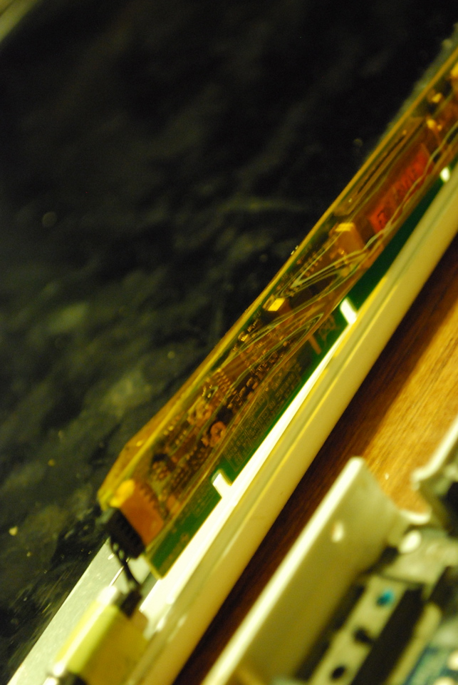 The LCD backlight inverter board. I initially thought this was defective, but this turned out not to be the case.
