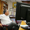 Mayor Dean Mazzarella Talks about his use of social media as he looks over his Facebook page in his office on Tuesday morning. SENTINEL & ENTERPRISE/JOHN LOVE