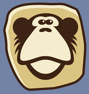 The Monkeystone logo, created by our friend Walter Costniak, or |2| as he liked to be called.  http://2design.org  We REALLY loved our company logo as it perfectly conveyed the humorous, light-hearted atmosphere and style we developed under.