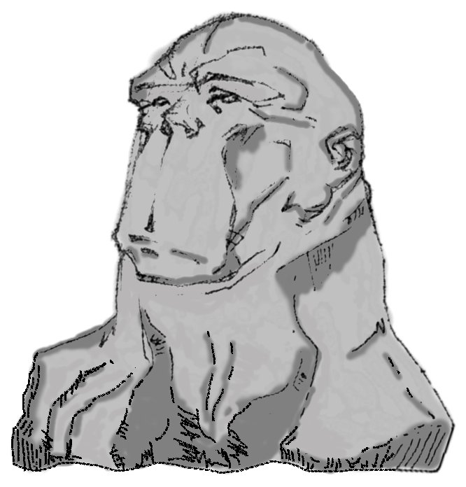 This was my initial 10-second idea of what the logo could look like.....quite literally a monkey head made of stone.  Lame!   2  provided us with a much better solution.