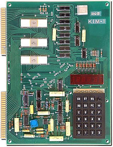 During my education (electronic engineering) we could use the schools' computer (Digital PDP-8), but wow, when this KIM-1 came out, I jumped on it. <br /> I could finally play with a 'computer' at home!! Only 1024 BYTES of RAM, hexadecimal 7 segment display and a rudimentary keyboard.<br /> It had a 6502 CPU.