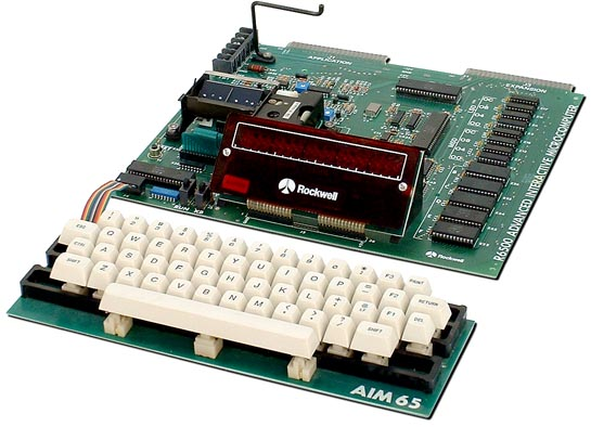 Here another 6502 based Single Board Computer: The Rockwell AIM-65.<br /> Introduced in 1977.<br /> <br /> Really nice design, and there was a REAL keyboard not a hexadecimal keypad, and an optional thermal printer!!<br /> I have it in a special blue plastic enclosure.