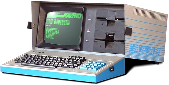 The original Kaypro-II from 1982..<br /> It is STILL is awesome design.<br /> <br /> With one interesting flaw:<br /> Andy Kay wanted to rush this model to the market, and the developpers couldn't find a proper VDU controller chip in time. Well, said the hardware design-team: let's make the VDU controller using discrete hardware (bunch of standard TTL IC's), and write the screencontrol code in the FIRMWARE!! And so they did!!<br /> Using a Z80 mnemonic debugger on the code in the 4k EPROM, you can clearly see how a character is printed on the screen, and it is sloooowwww!!!!<br /> For instance CLS (Clear Screen) is performed in a quite rudimentary way:<br /> by filling the screenmemory with $20 (space) characters!!<br /> VERY fast terminal programs were simply TOO fast for this hardware/firmware solution.