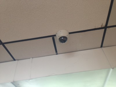 in the cafeteria, can this camera be lowered a little to see under the air vent?