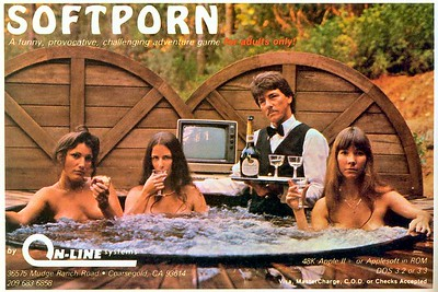 The legendary Softporn ad with Roberta Williams (far right).  The other women were secretaries at Online Systems and the butler was a model they hired for the shoot.  He is in the water.