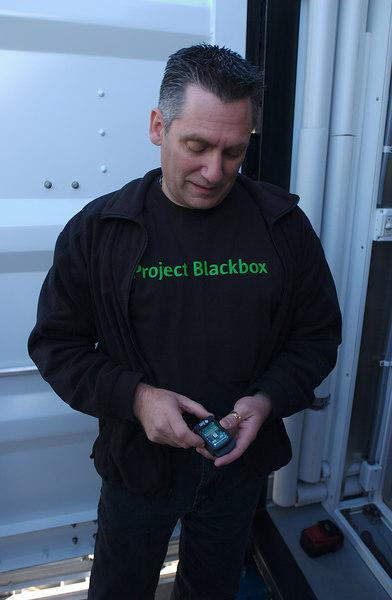 Project Blackbox, Washington DC, Joe holding a SunSPOT Accelerometer