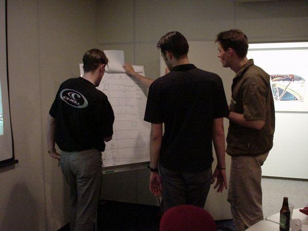 Neophyte, Rez, Ezz (hidden) and Narm checking the scores on the flipover