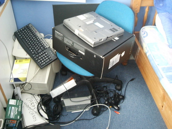 powerbook box, dell laptop, monitor and stuff