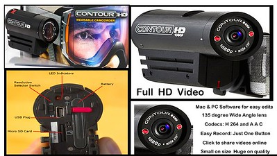 On board video camera. Contour HD with internal barttery & card slot