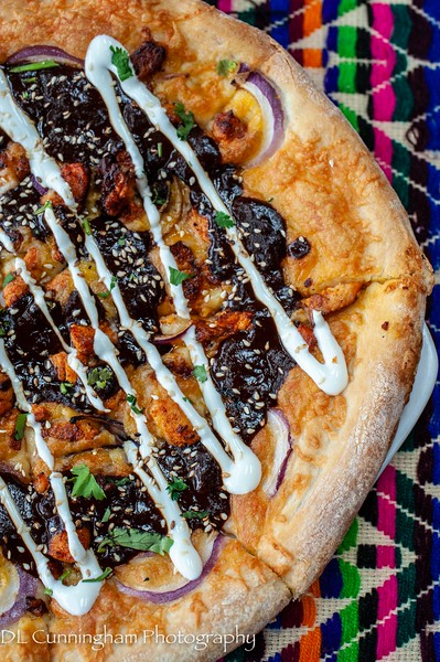 Chicken mole poblano pizza