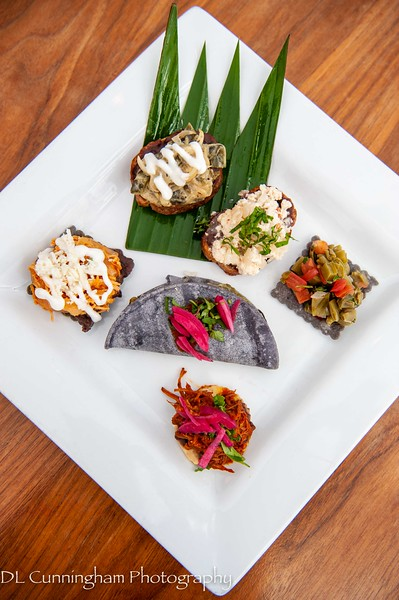 Mayahuel~Bocaditos de Mexico~Six savory individual bites showcasing the creative and diverse flavors of Mexico.  Rajas de Chile Poblano/Requeson/COCHINITA PIBIL/Nopales/Dobladita de Chile Poblano/Chicken Tinga
