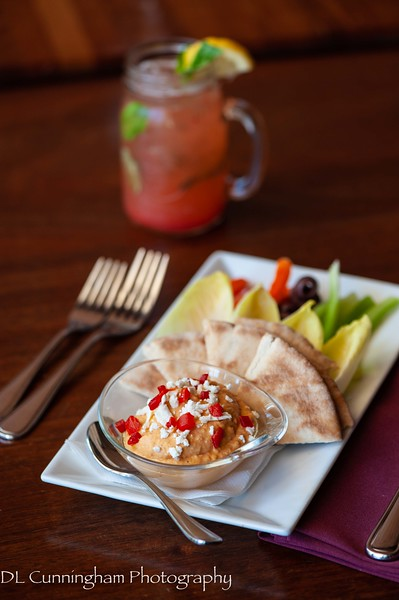 Hummus with strawberry-basil lemonade