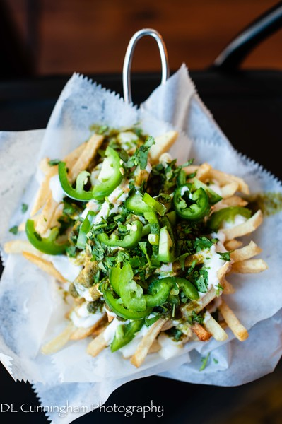 Shah's Fries - jalapeños, cilantro, garlic yogurt and green chutney