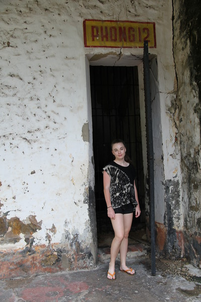 Tess outside cell number 12, Con Dao prison
