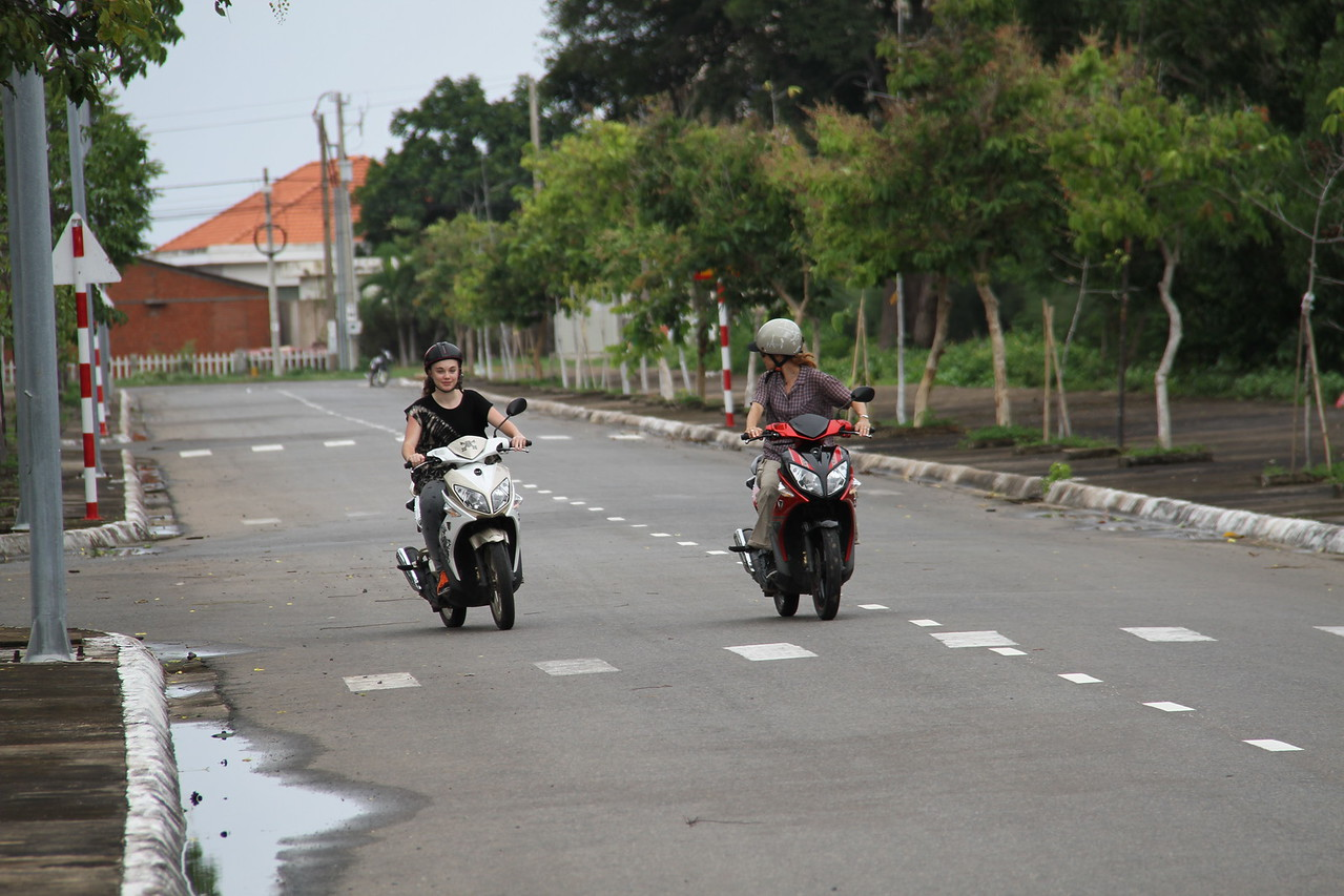And Tess learns to drive a scooter