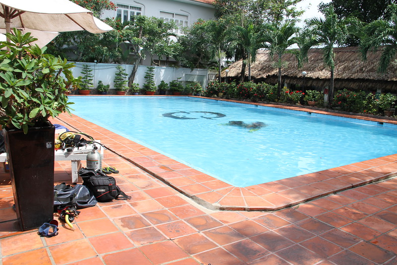 Pool in HCMC with scuba kit for our confined water dive lessons