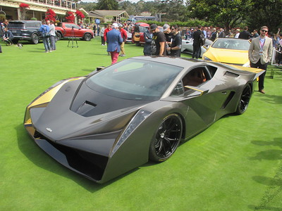 Concept cars on lawn at Pebble Beach