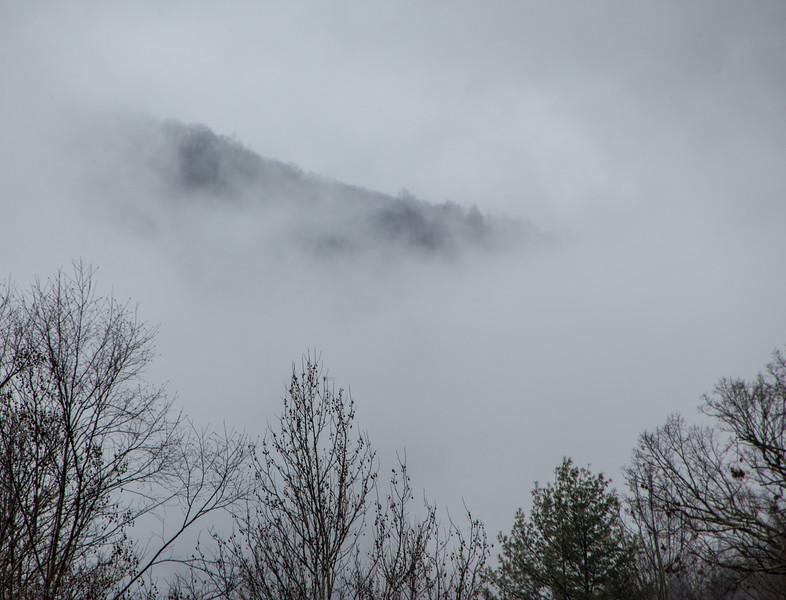 Mountain in Winter Fog