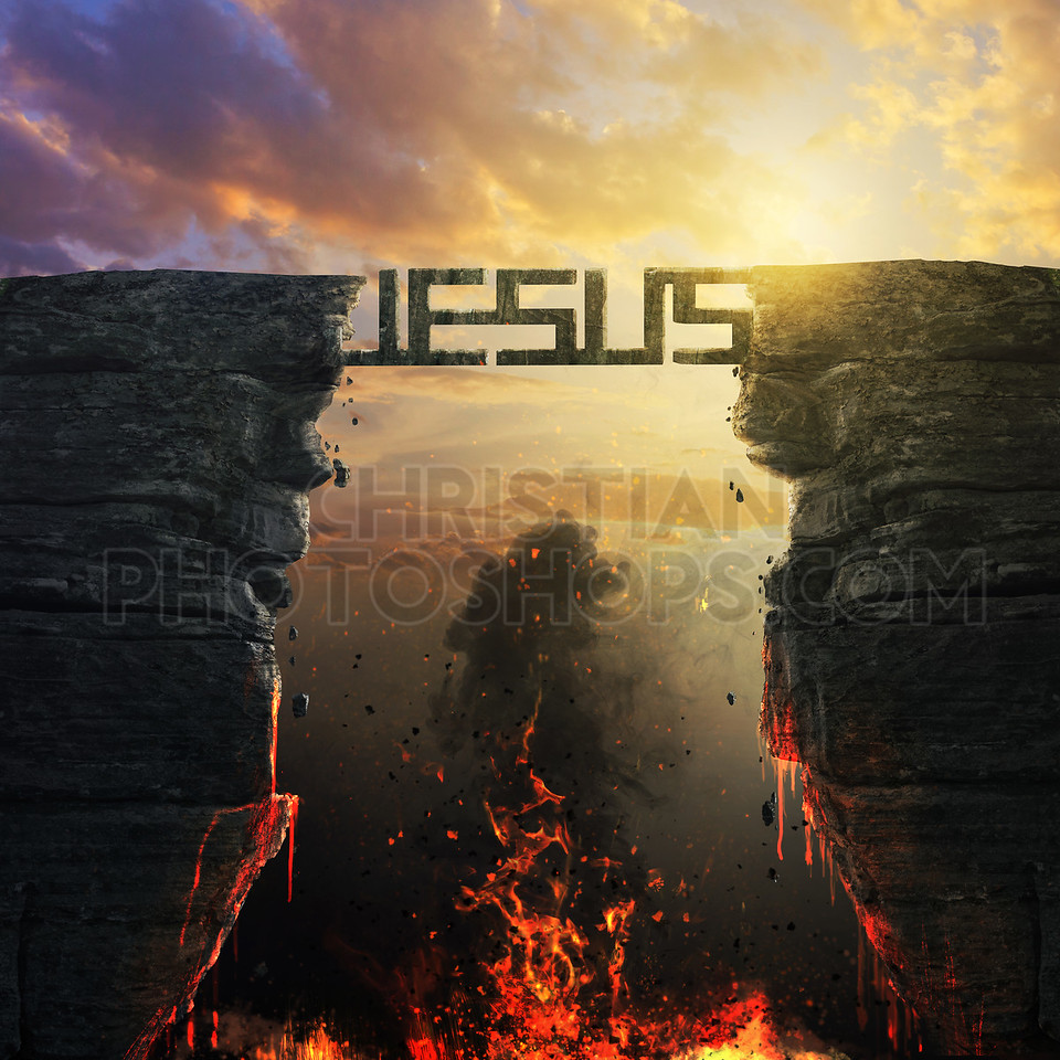Jesus bridge over fire