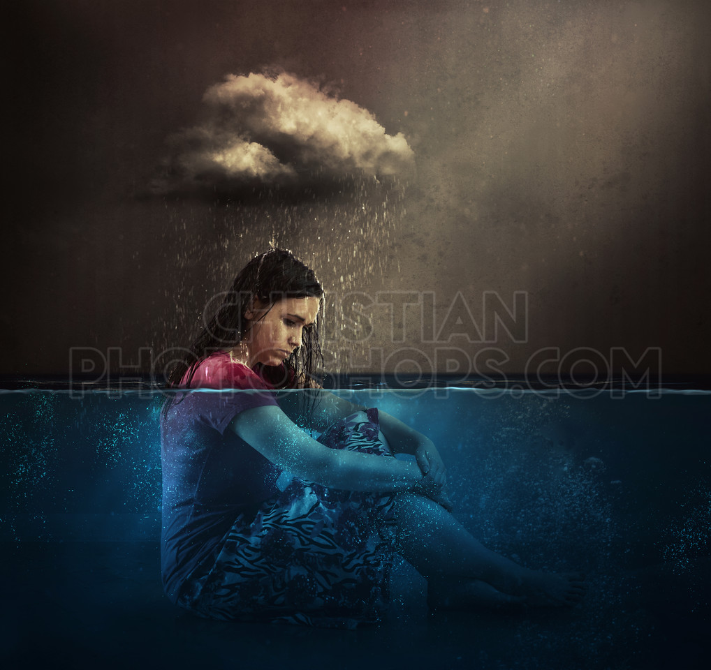 Woman and rain cloud