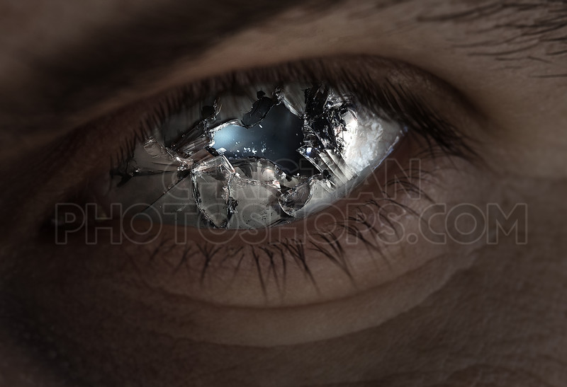 Broken eye and glass