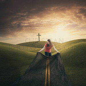 Woman carries road to cross