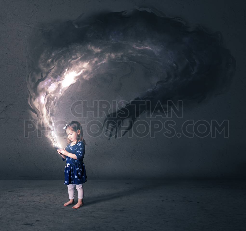 Little girl and cell phone