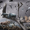 Surreal digital composite of various animals and birds.