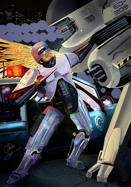 Digital illustration of Robocop having epic fight with ED 209 by Illustrator Christian Wilkinson.