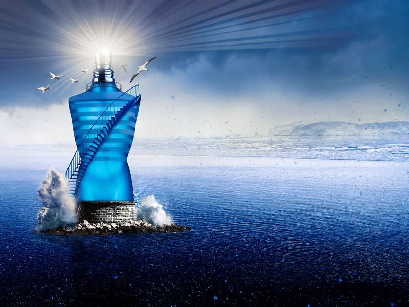 Jean Paul Perfume Bottle creative advert with multi layered photoshop edits.