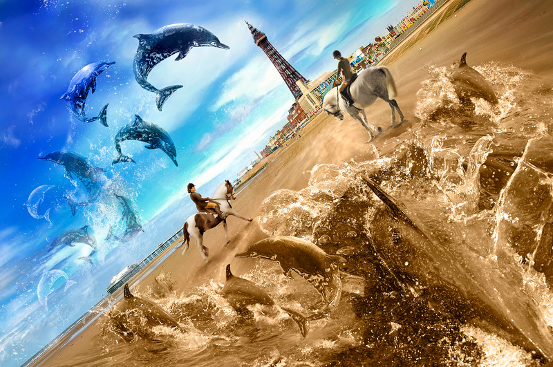 Surreal Photo composite of dolphins at Blackpool.