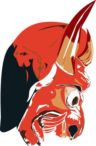 Red Devil Portrait Face mask illustration. Profile view.