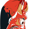 Red Devil Portrait Face mask illustration. Profile view.